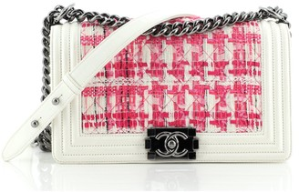 Chanel Boy Flap Bag Quilted Tweed with Patent Old Medium