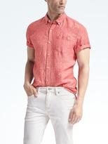 Banana Republic Camden-Fit Short-Sleeve Dot Linen Shirt