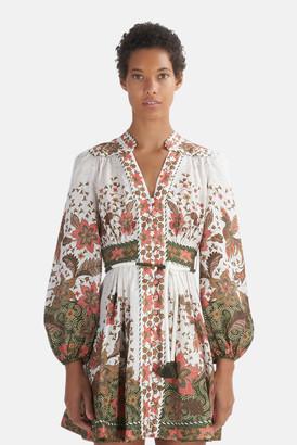 Zimmermann Khaki Batik Empire Batik Short Dress