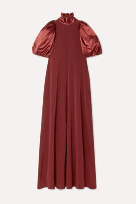 Co Satin And Crepe Maxi Dress - Burgundy