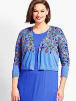 Talbots Womans Exclusive Classic Open-Front Shrug - Spring Garden