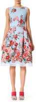 Carolina Herrera Sleeveless High-Neck Floral-Print Day Dress