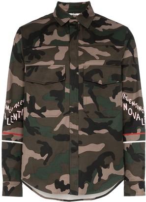 Valentino Logo print camo cotton shirt jacket