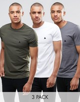 Asos 3 Pack Muscle T-Shirt With Logo In White/Gray/Khaki