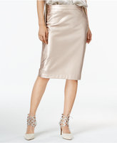 Bar III Metallic Faux-Leather Skirt, Only at Macy's