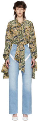 Rokh Multicolor Silk Draped Ties Blouse