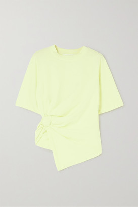 See by Chloe Knotted Cotton-jersey T-shirt - Pastel yellow