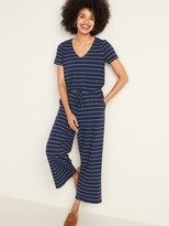 Old Navy Boucle-Knit Waist-Defined Striped Jumpsuit for Women