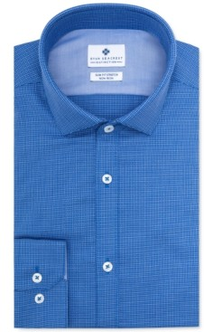 Ryan Seacrest Distinction Men's Ultimate Slim-Fit Non-Iron Performance Stretch Blue Multi-Cross Dobby Dress Shirt, Created for Macy's