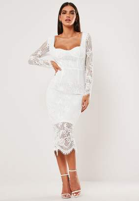 Missguided White Lace Long Sleeve Milkmaid Midi Dress
