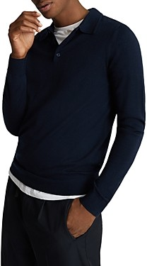 Reiss Trafford Merino Wool Long Sleeve Polo