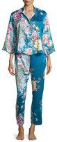 Natori Serene Floral-Print Pajama Set, Seaport Blue