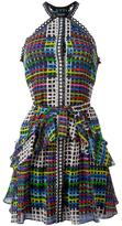 Saloni geometric print flared dress - women - Silk/Polyester - 10