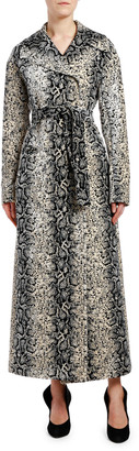 Giambattista Valli Snake-Print Gabardine Trench Coat