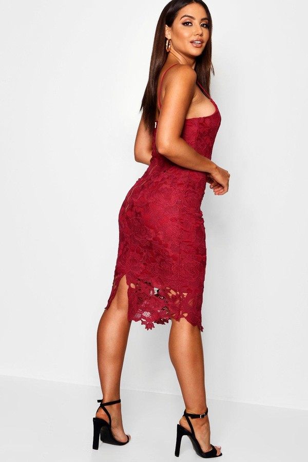 Thumbnail for your product : boohoo Boutique Crochet Lace Strappy Midi Dress