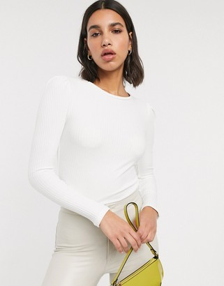 Stradivarius puff sleeve ribbed top in white
