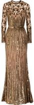 Elie Saab Embellished Tulle Gown - Gold