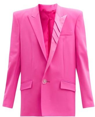 ATTICO Padded-shoulder Single-breasted Wool-blend Jacket - Fuchsia