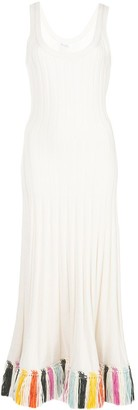 Oscar de la Renta Raffia-Embroidered Ribbed-Knit Dress