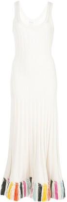 Oscar de la Renta Raffia-Embroidered Ribbed-Knit Dress