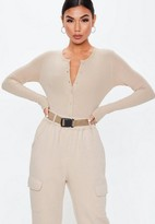 Missguided Petite Sand Ribbed Button Front Bodysuit