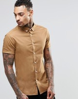 Asos Skinny Shirt In Camel With Button Down Collar And Short Sleeves