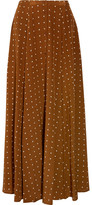 Diane von Furstenberg Polka-dot Washed-silk Maxi Skirt - Brown