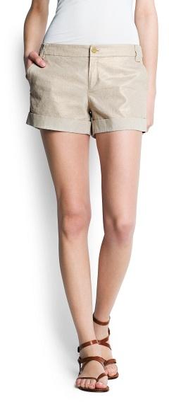 MANGO Linen cotton-blend metallic shorts