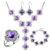 Babao Jewelry Jewelry Sets Babao Jewelry Luxury Clover Purple 925 Sterling Silver Plated Brass Cubic Zirconia Crystals Pendant Necklace Earrings Bracelet Set Ring Size 8