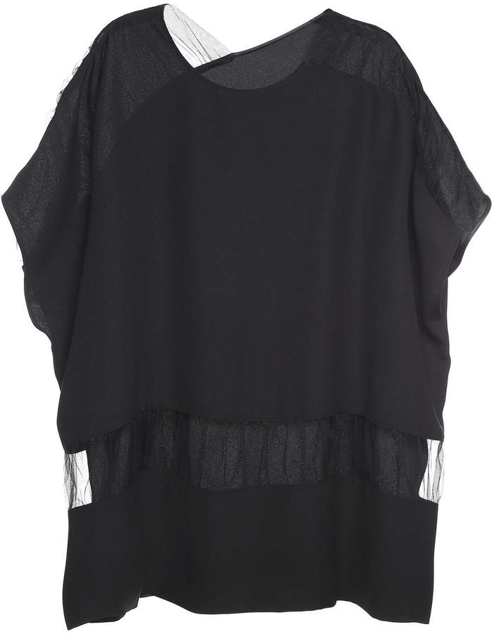 Maison Margiela Draped Tulle-trimmed Crepe Top