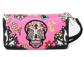 Cowgirl Trendy Concealed Carry Day of The Dead Punk Sugar Skull Purse Handbag Shoulder Bag Wallet Set New