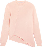 Stella McCartney Asymmetric Ribbed Wool Sweater - Blush