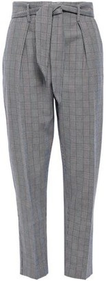 Equipment Marcelle Tie-front Prince Of Wales Checked Cotton And Wool-blend Tapered Pants