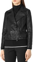 Reiss Adalie Croc-Embossed Leather Biker Jacket