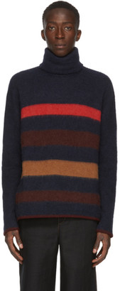 Lanvin Navy Cashmere Stripe Turtleneck