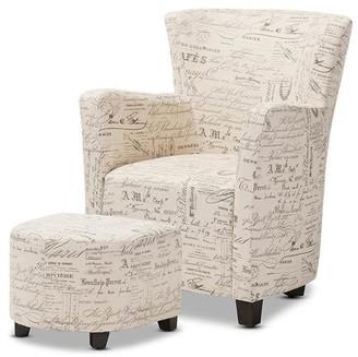Baxton Studio Benson French Script Patterned Fabric Club Chair & Ottom