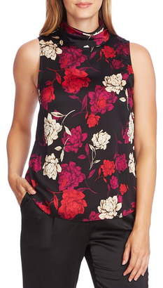 Vince Camuto Enchanted Floral Sleeveless Hammered Satin Blouse