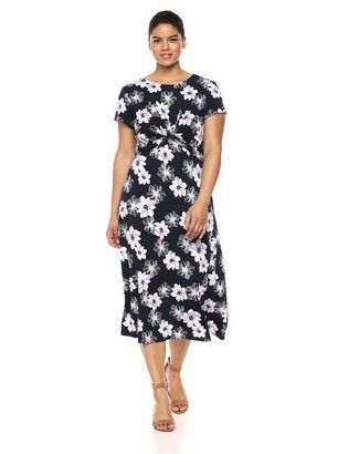 Jessica Howard Size Womens Short Sleeve Twist Waist Midi Dress