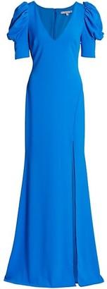 Badgley Mischka V-Neck Sculptural Sleeve Gown