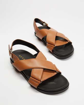 AERE - Women's Brown Flat Sandals - Crossover Leather Footbed Sandals - Size 5 at The Iconic