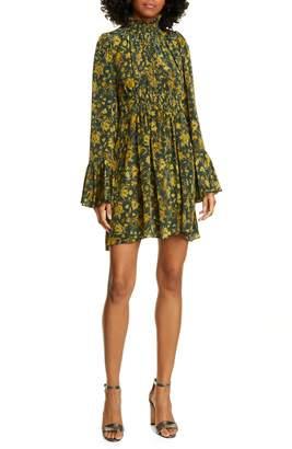 AMUR Sorah Floral Print Long Sleeve Silk Minidress