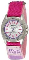 Ravel Girl's Surfer 5ATM Velcro Quartz Watch with Silver Dial Analogue Display and Pink Nylon Strap R5-12.5L