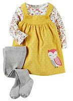 Carter's Baby Girl Print Tee, Corduroy Jumper & Tights Set