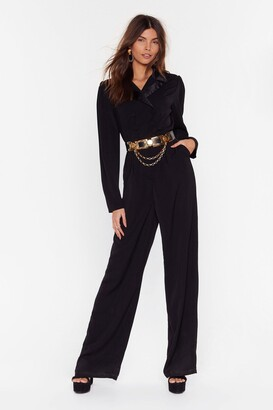 Nasty Gal Womens Getting On With Business Tailored Wide-Leg Jumpsuit - Black - 8