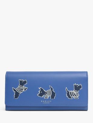 Radley Stripey Dog Large Leather Flapover Matinee Purse, Blue