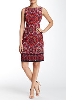 London Times Twill Paisley Boatneck Dress (Petite)