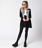 Iron Fist Black & White Wishbone Long Sleeve Cotton Trapeze Dress