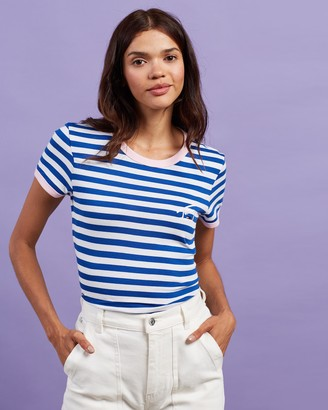 Tommy Jeans Women's White T-Shirts - Logo Stripe Ringer Tee - Size XS at The Iconic