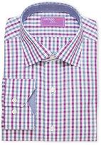 Lorenzo Uomo Purple Plaid Trim Fit Dress Shirt