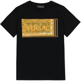 Versace Kids Logo embroidered cotton T-shirt